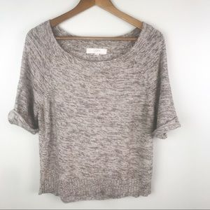 LOFT Soft Sweater Blouse Short Sleeve Brown Top